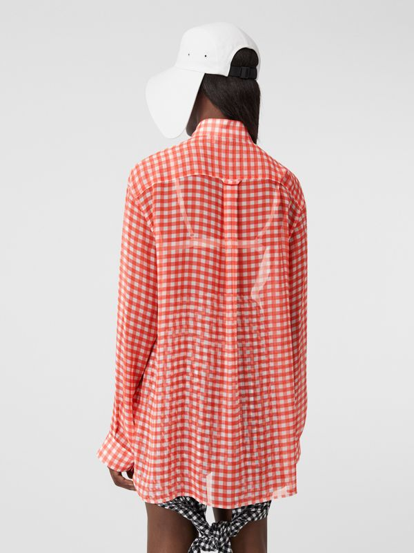 Gingham Silk Chiffon Pussy-bow Blouse in Red - Women | Burberry United Kingdom - cell image 2