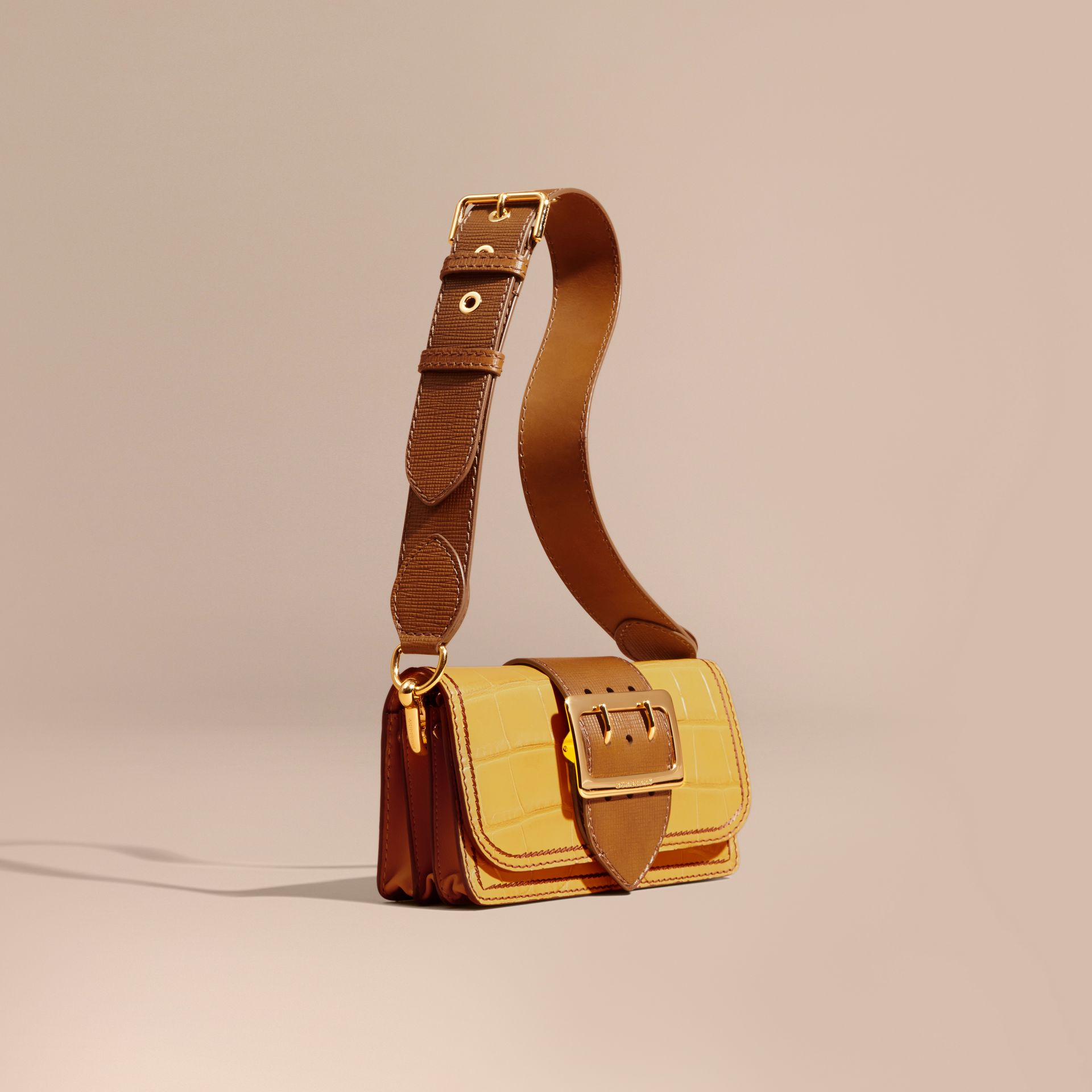 Citrus yellow / tan The Small Buckle Bag in Alligator and Leather Citrus Yellow / Tan - gallery image 1
