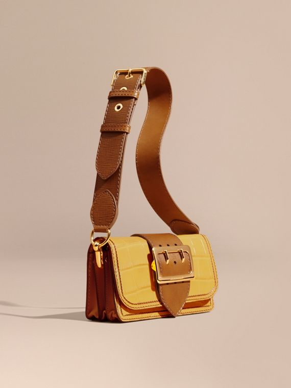The Small Buckle Bag in Alligator and Leather in Citrus Yellow / Tan