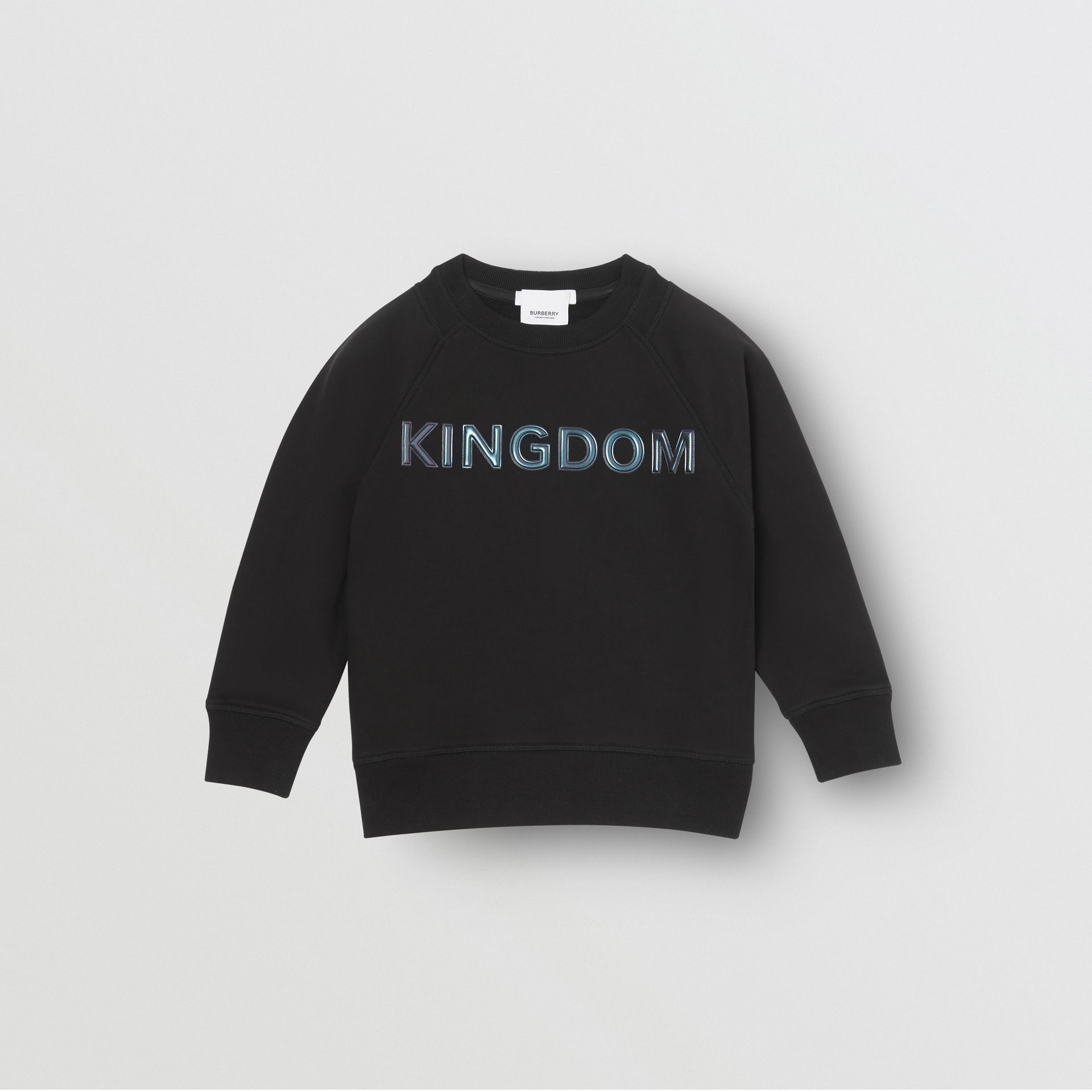 Kingdom Print Cotton Sweatshirt in Black | Burberry Singapore - gallery image 0