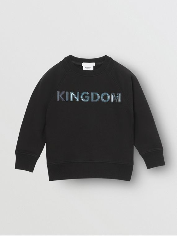 Kingdom Print Cotton Sweatshirt in Black