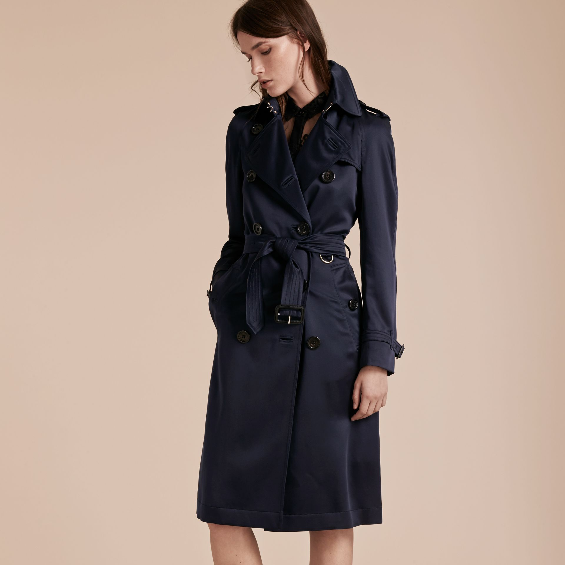 Navy Silk Trench Coat - gallery image 8