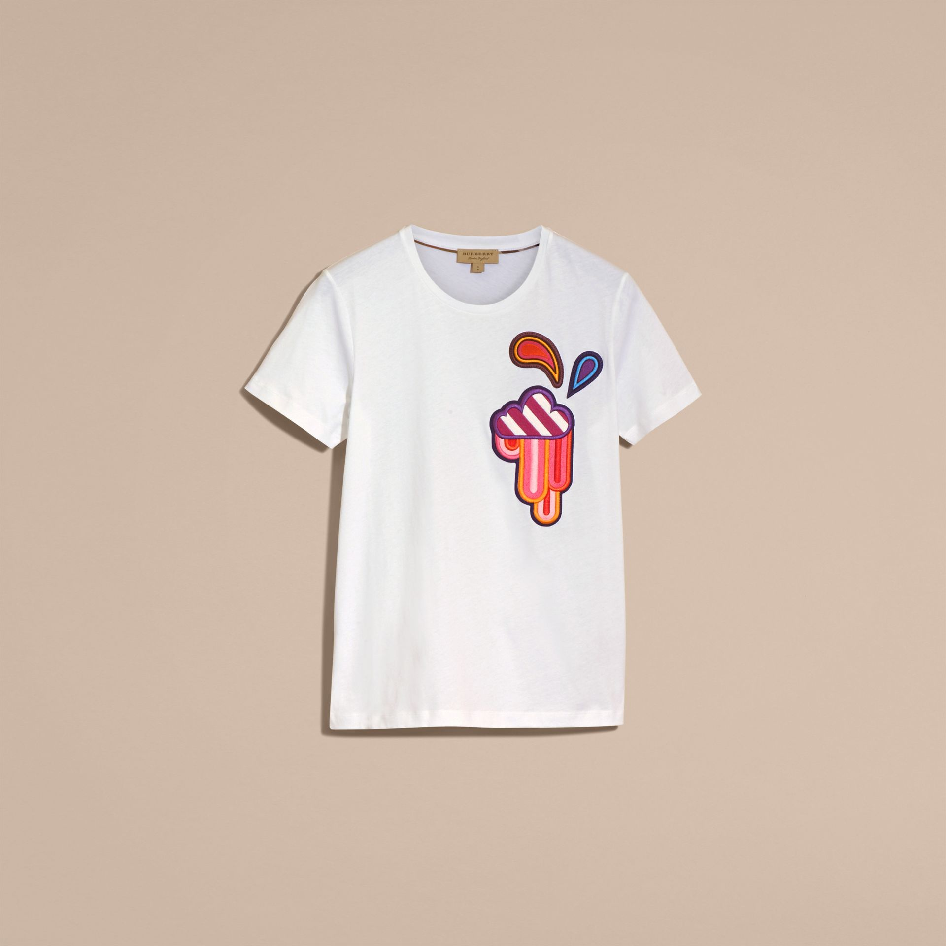 White Appliquéd Weather Motif Cotton T-shirt White - gallery image 4