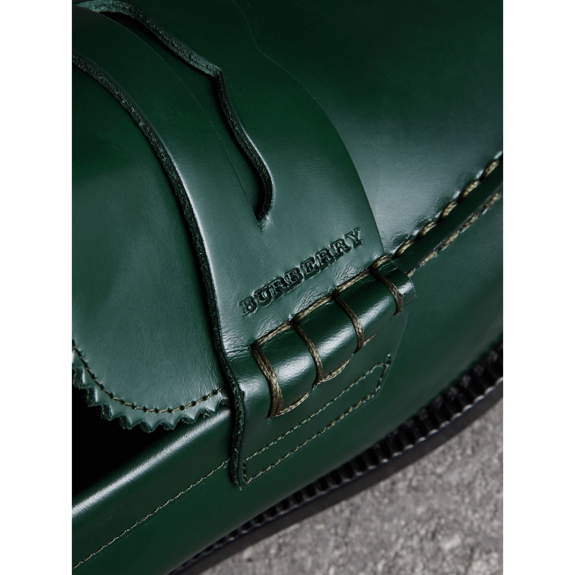 Leather Penny Loafers in Bottle Green - Men | Burberry - gallery image 1