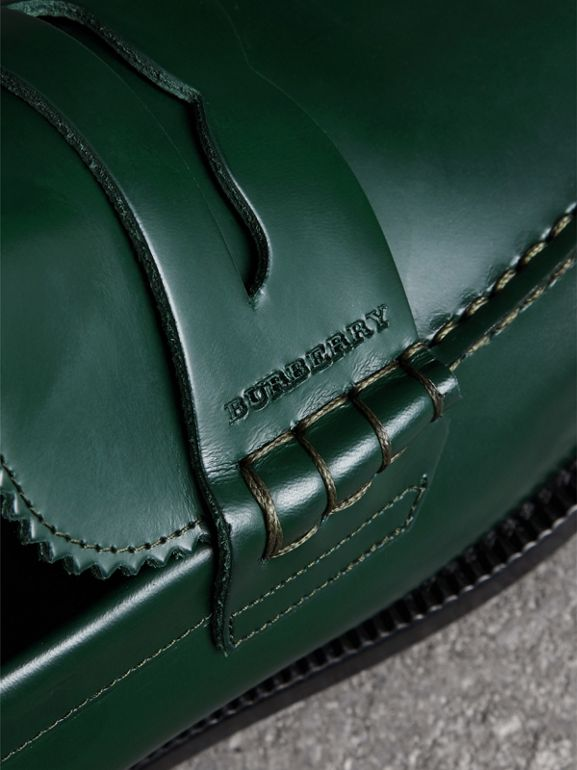 Leather Penny Loafers in Bottle Green - Men | Burberry United States - cell image 1