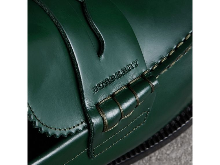 Leather Penny Loafers in Bottle Green - Men | Burberry United Kingdom - cell image 1