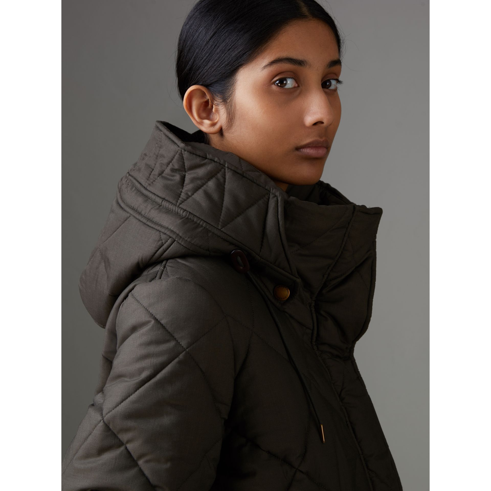 Detachable Hood Quilted Oversized Jacket in Olive - Women | Burberry - gallery image 1