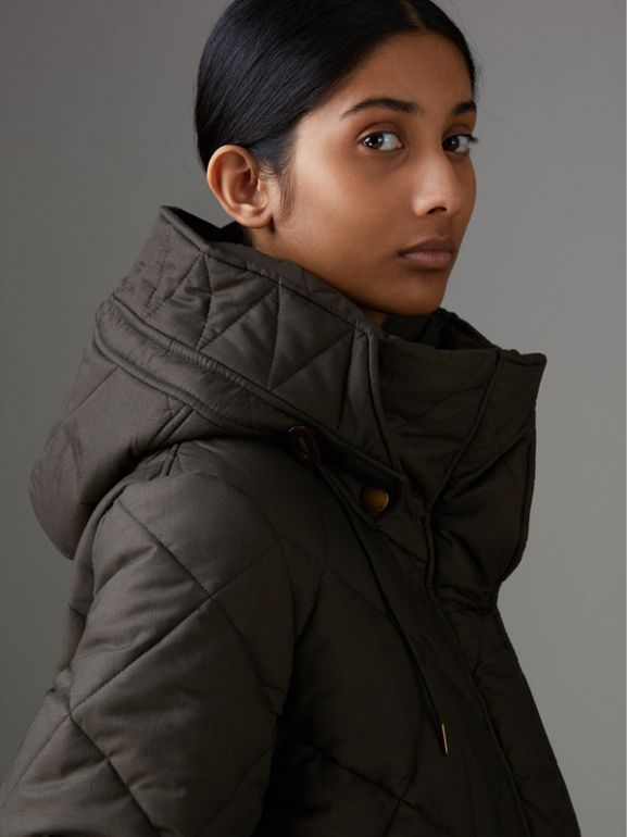 Detachable Hood Quilted Oversized Jacket in Olive - Women | Burberry United Kingdom - cell image 1