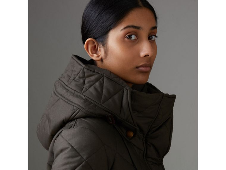 Detachable Hood Quilted Oversized Jacket in Olive - Women | Burberry - cell image 1