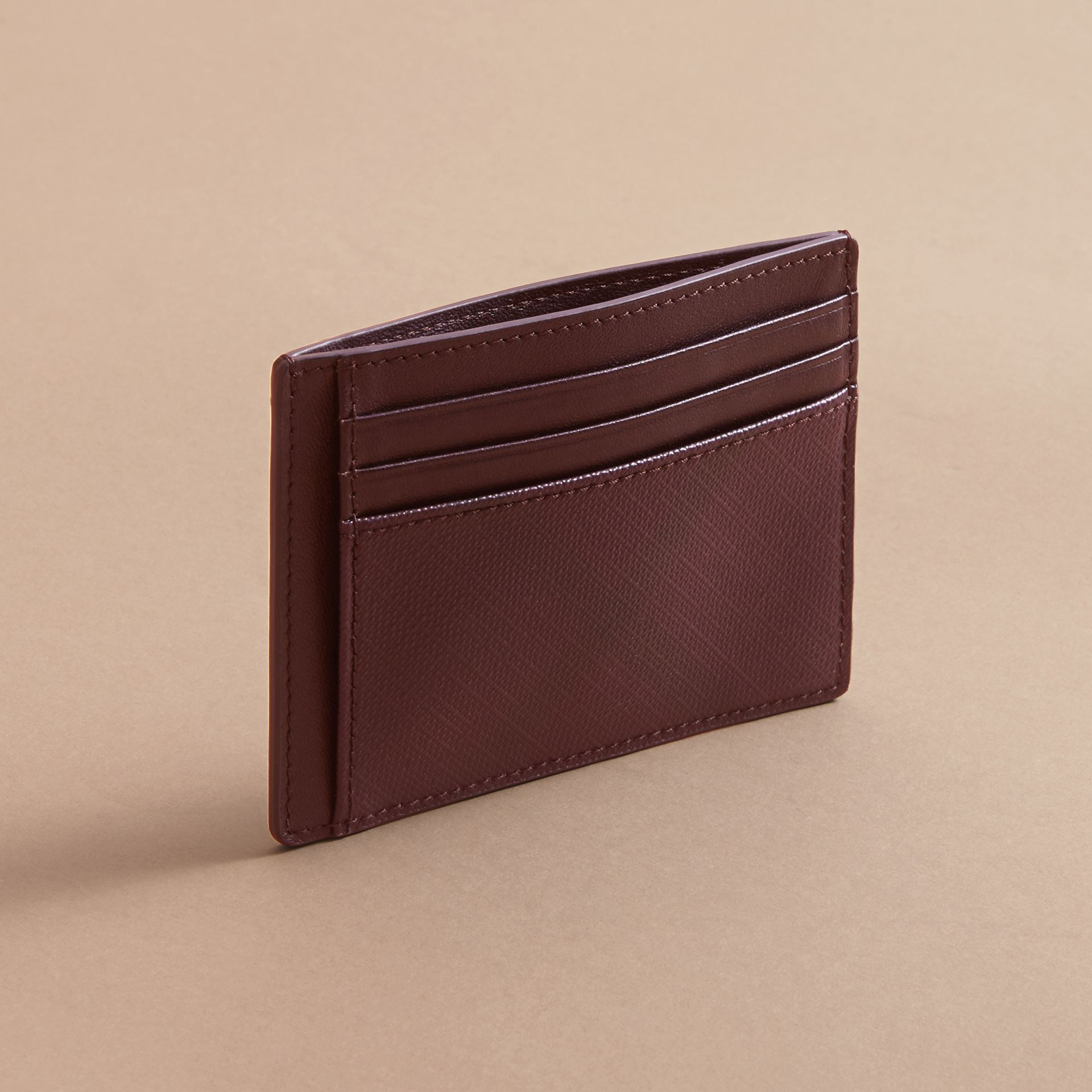 London Check Card Case in Deep Claret - Men | Burberry - gallery image 2