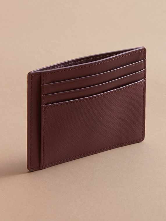 London Check Card Case in Deep Claret - Men | Burberry - cell image 2