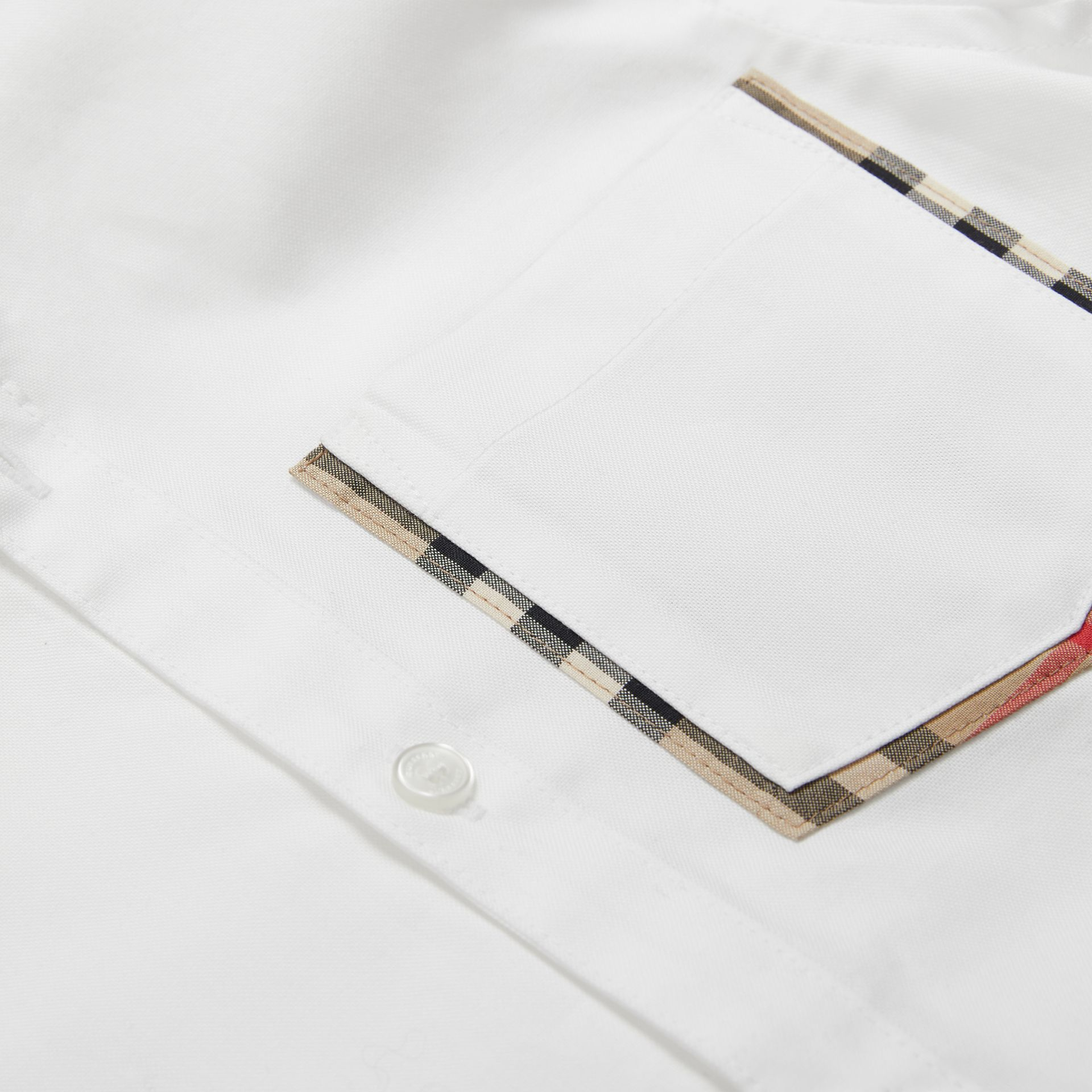 Check Detail Cotton Oxford Shirt in White | Burberry - gallery image 1