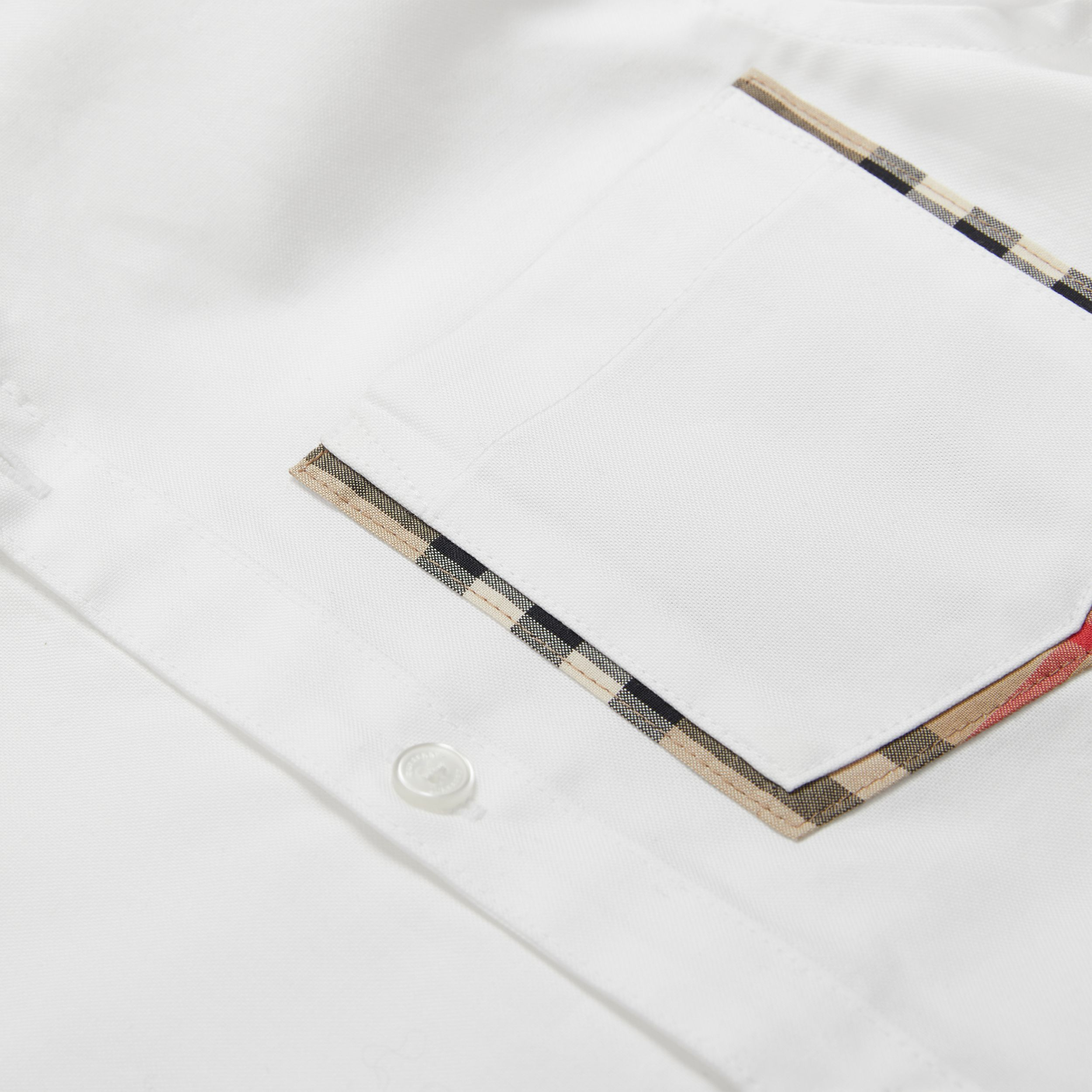 Check Detail Cotton Oxford Shirt in White | Burberry - 2