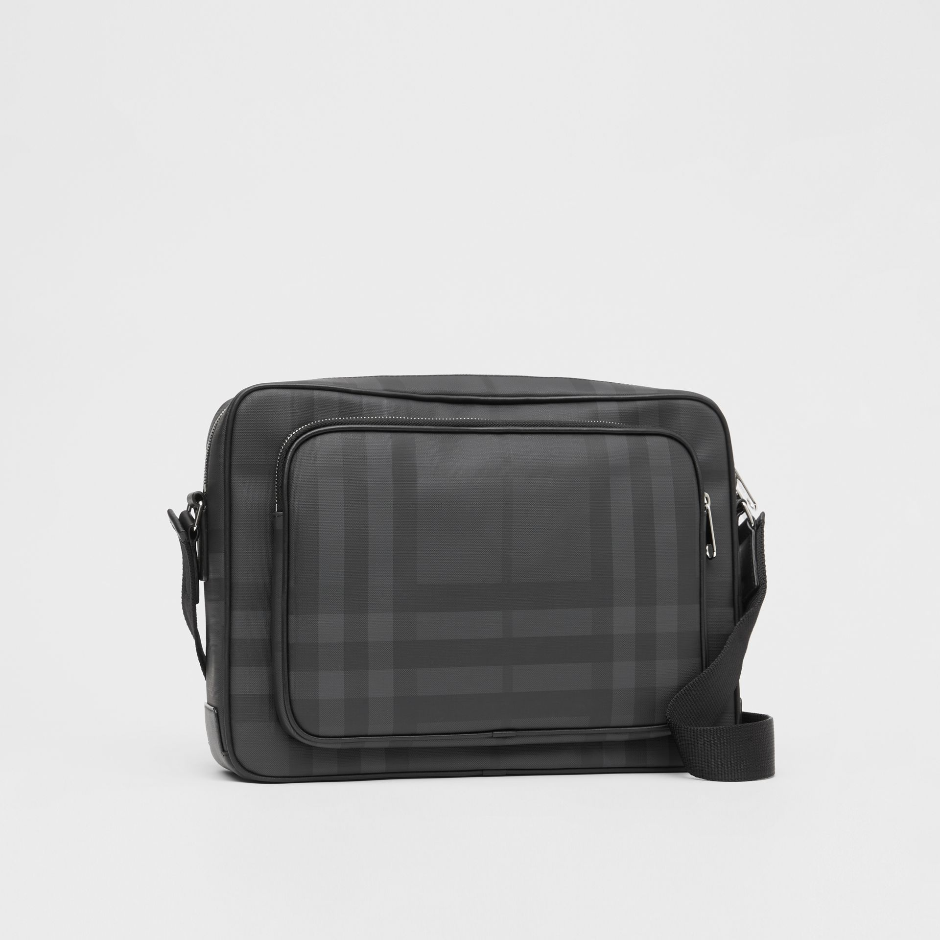 London Check and Leather Messenger Bag in Dark Charcoal - Men | Burberry United Kingdom - gallery image 6