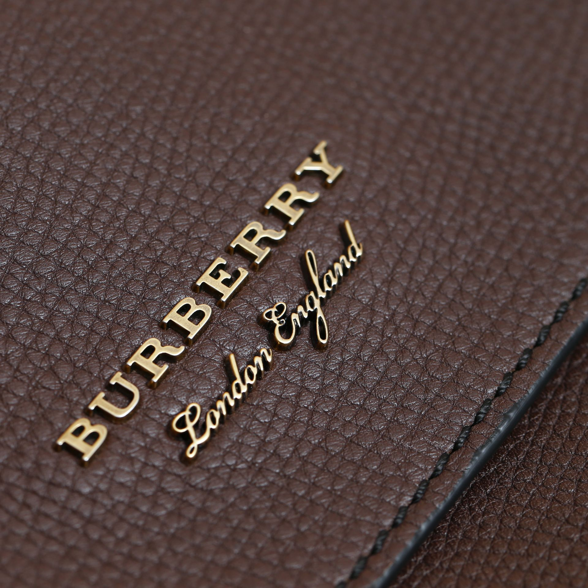 Leather and House Check Satchel in Oak Brown - Men | Burberry Australia - gallery image 2