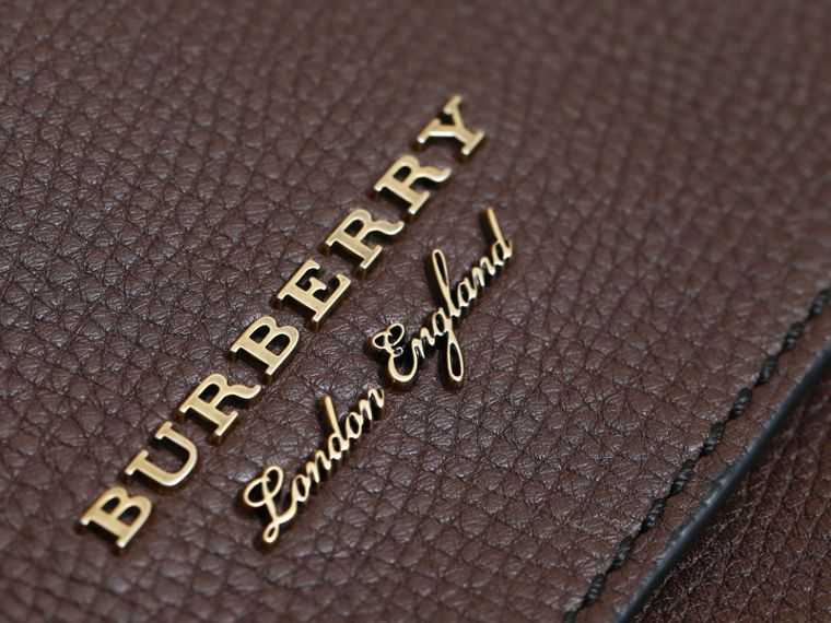 Leather and House Check Satchel in Oak Brown - Men | Burberry - cell image 1