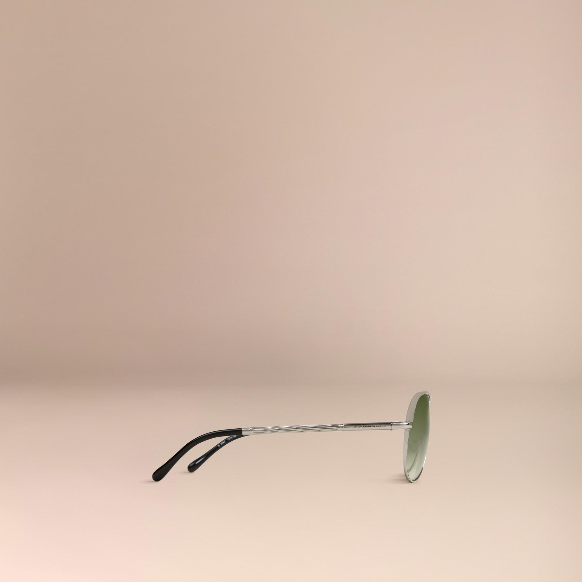 Silver Gabardine Collection Aviator Sunglasses Silver - gallery image 4