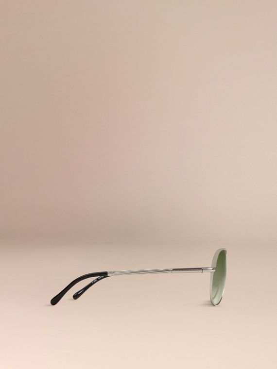 Silver Gabardine Collection Aviator Sunglasses Silver - cell image 3