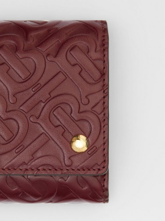 Small Monogram Leather Folding Wallet in Oxblood - Women | Burberry - cell image 1