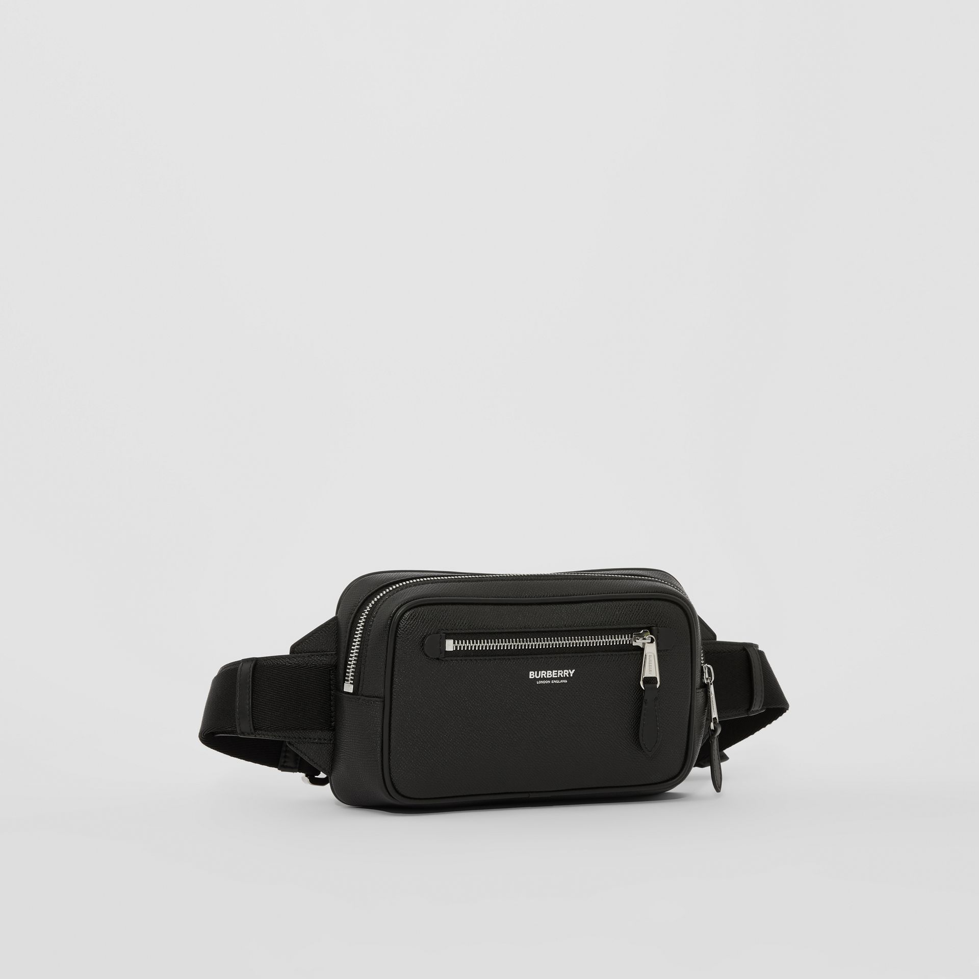 Grainy Leather Bum Bag in Black - Men | Burberry - gallery image 8