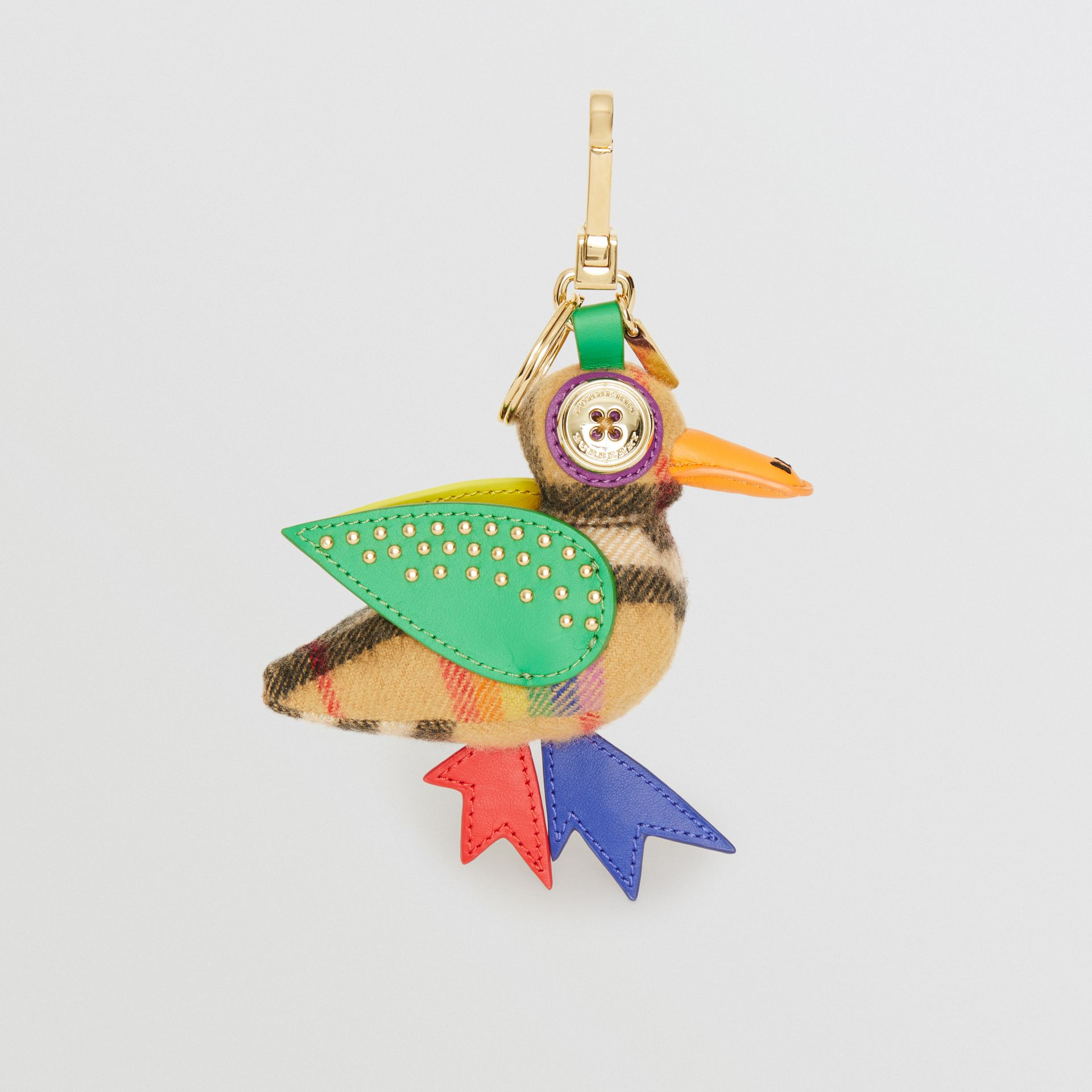 Barry The Duck Rainbow Vintage Check Charm in Multicolour/antique Yellow | Burberry United Kingdom - gallery image 3