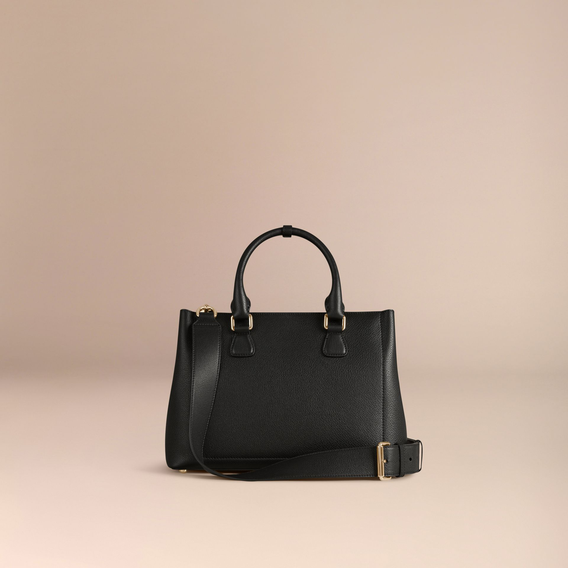 Black The Medium Saddle Bag in Grainy Bonded Leather Black - gallery image 4