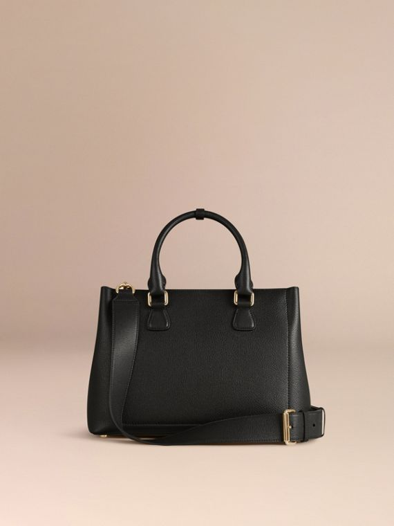Black The Medium Saddle Bag in Grainy Bonded Leather Black - cell image 3
