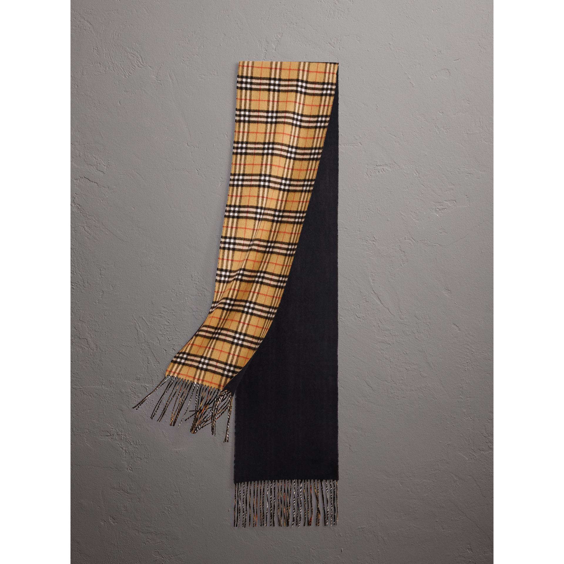 Long Reversible Vintage Check Double-faced Cashmere Scarf in Blue Carbon | Burberry United Kingdom - gallery image 0