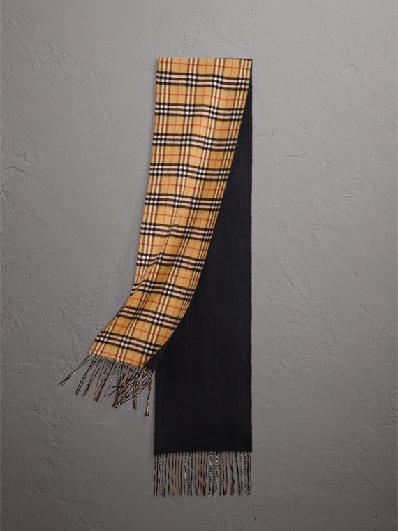 Long Reversible Vintage Check Double-faced Cashmere Scarf in Blue Carbon