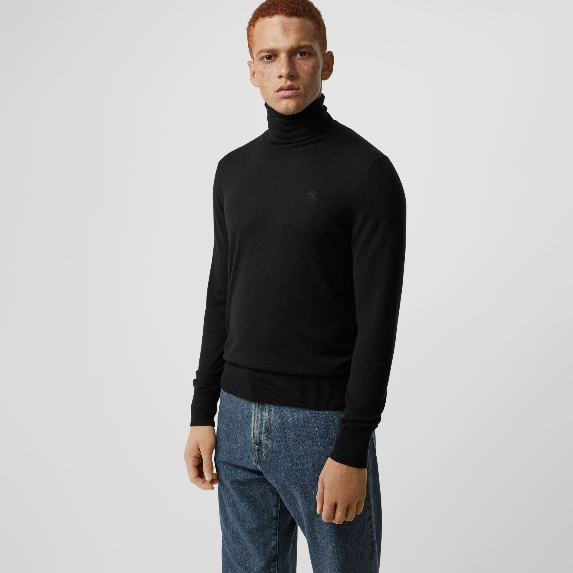 Cashmere Silk Roll-neck Sweater in Black - Men | Burberry - gallery image 0