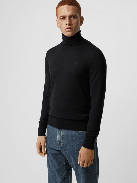 Cashmere Silk Roll-neck Sweater in Black