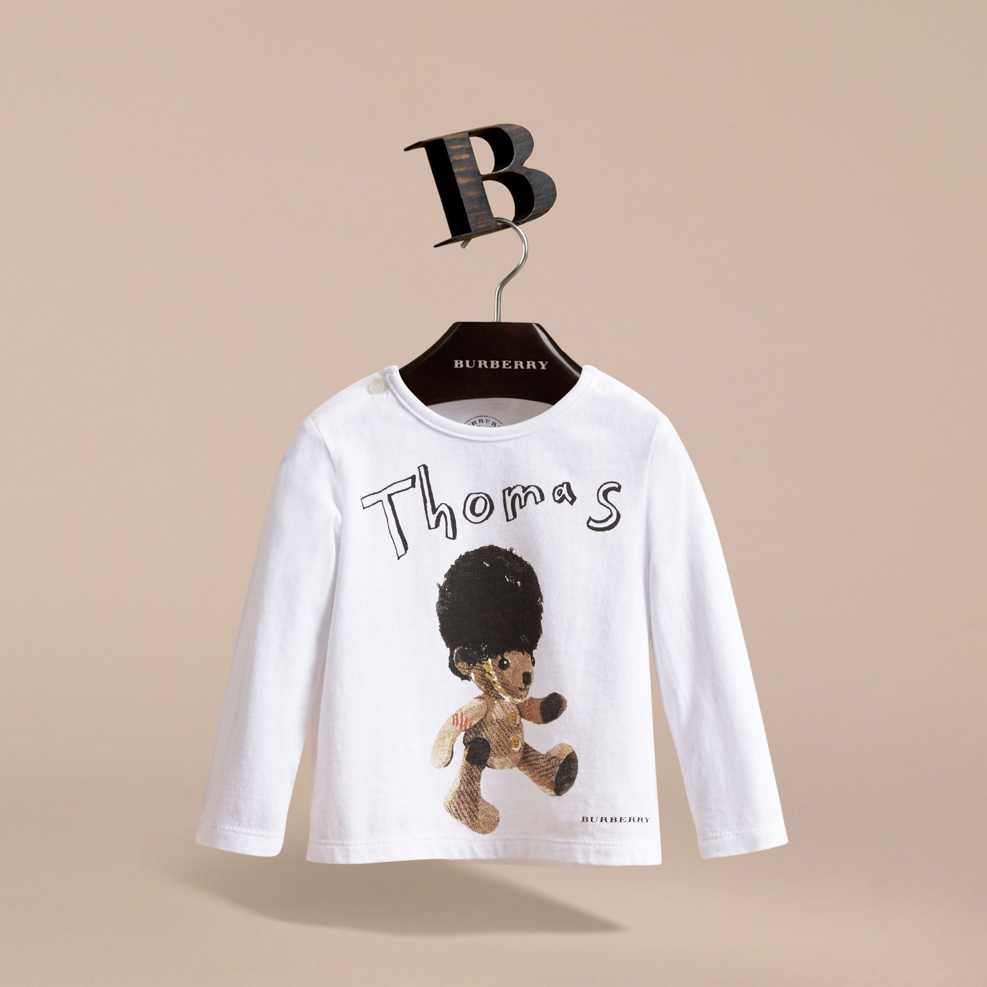 Thomas Bear Guardsman Print Cotton Top in White - Children | Burberry - gallery image 2