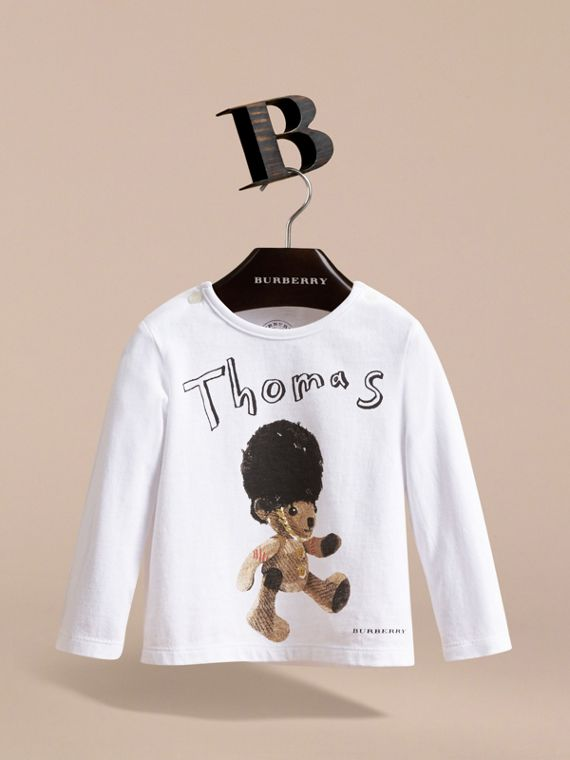 Thomas Bear Guardsman Print Cotton Top in White - Children | Burberry - cell image 2