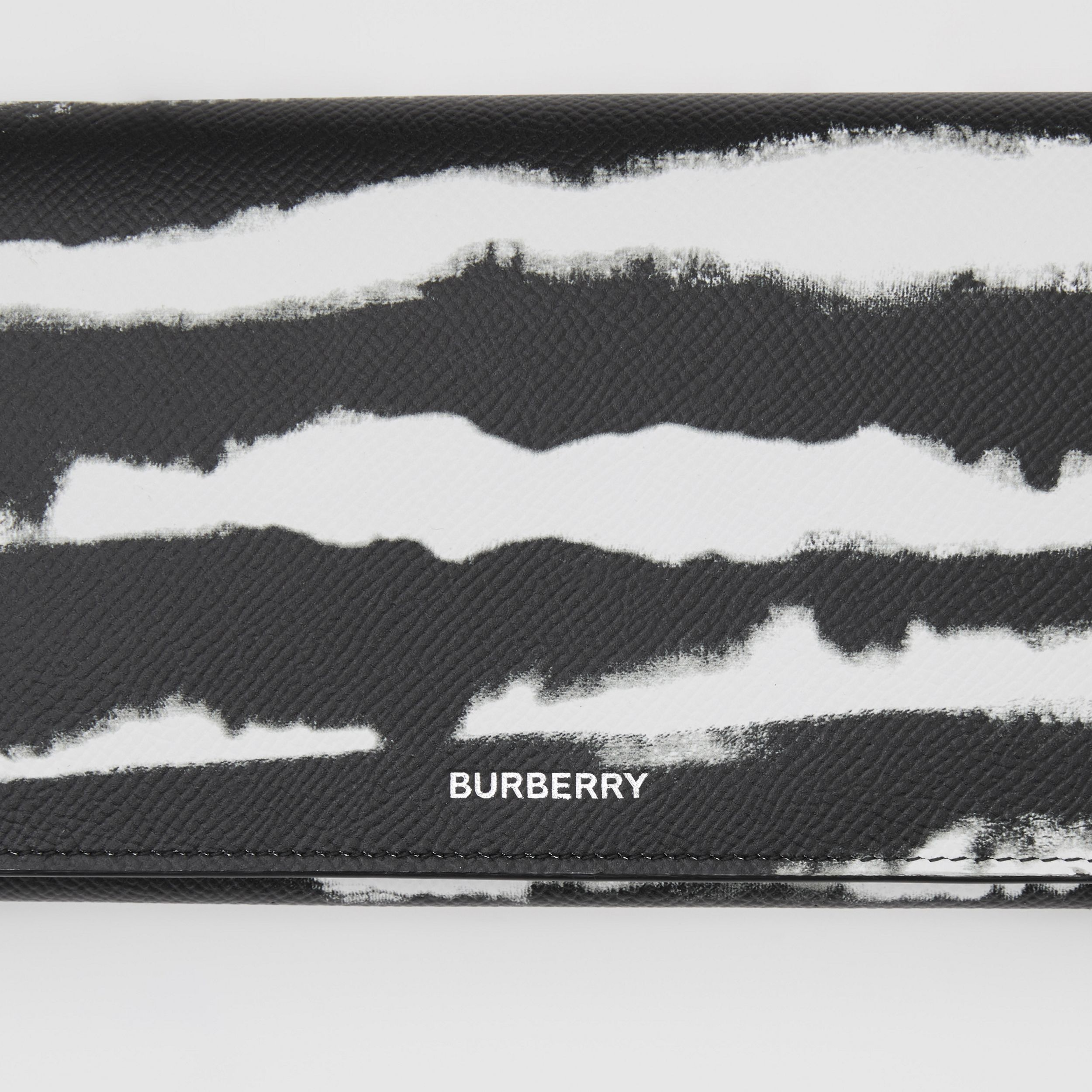 Watercolour Print Leather Wallet with Detachable Strap in Black/white | Burberry - 2