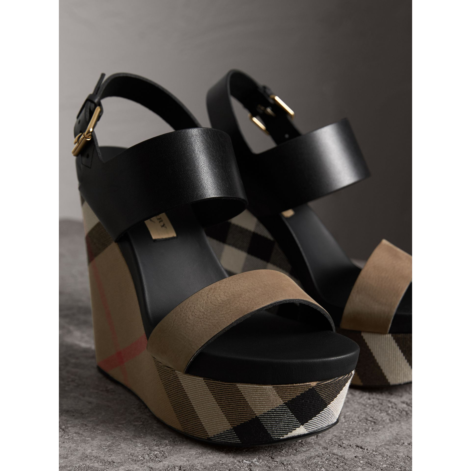House Check Leather and Calf Suede Platform Wedges in Dark Heather Melange - Women | Burberry Australia - gallery image 4