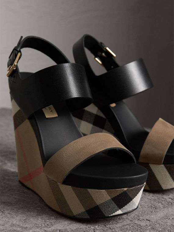 House Check Leather and Calf Suede Platform Wedges in Dark Heather Melange - Women | Burberry Canada - cell image 3