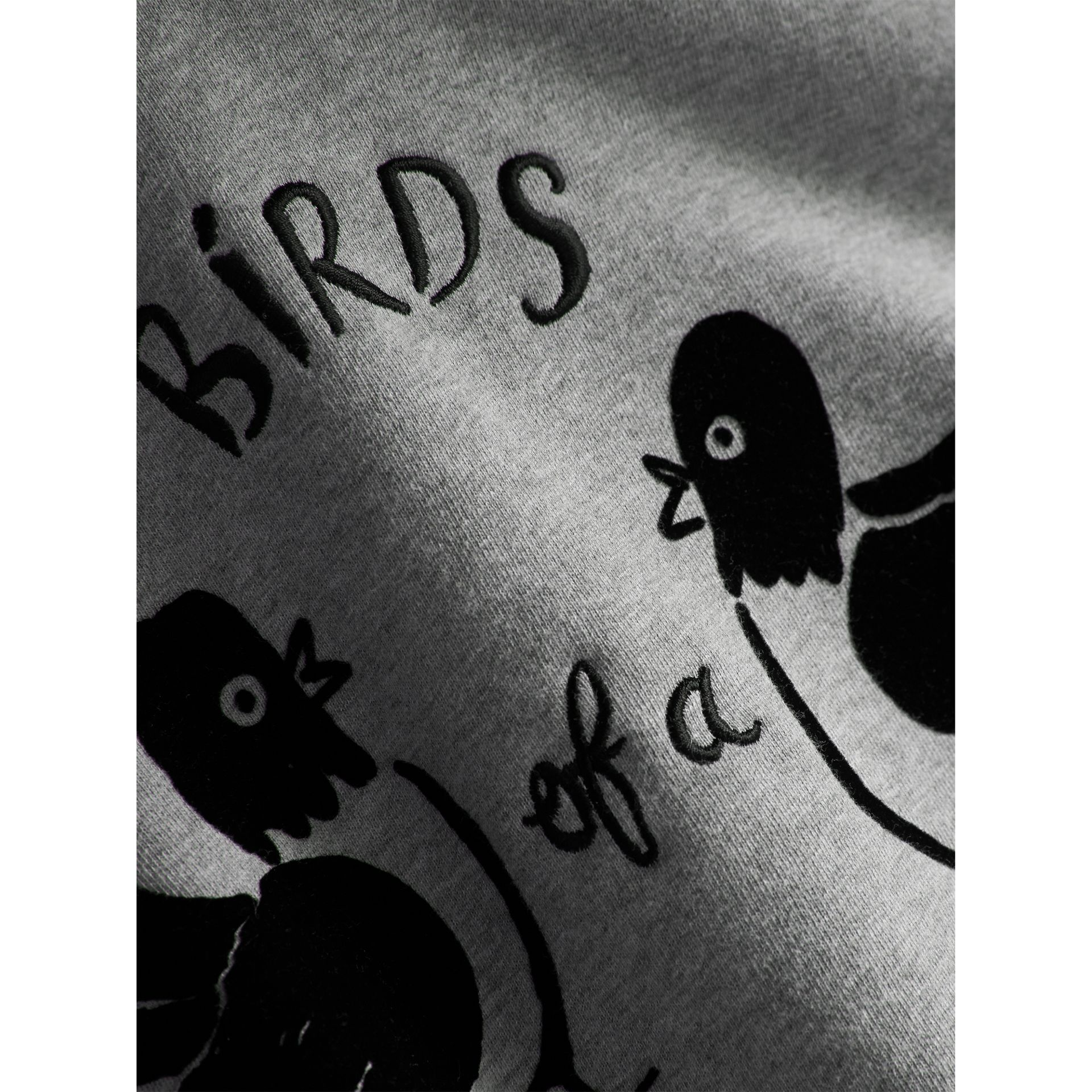 Birds of a Feather Motif Cotton Sweatshirt in Grey Melange - Girl | Burberry - gallery image 2