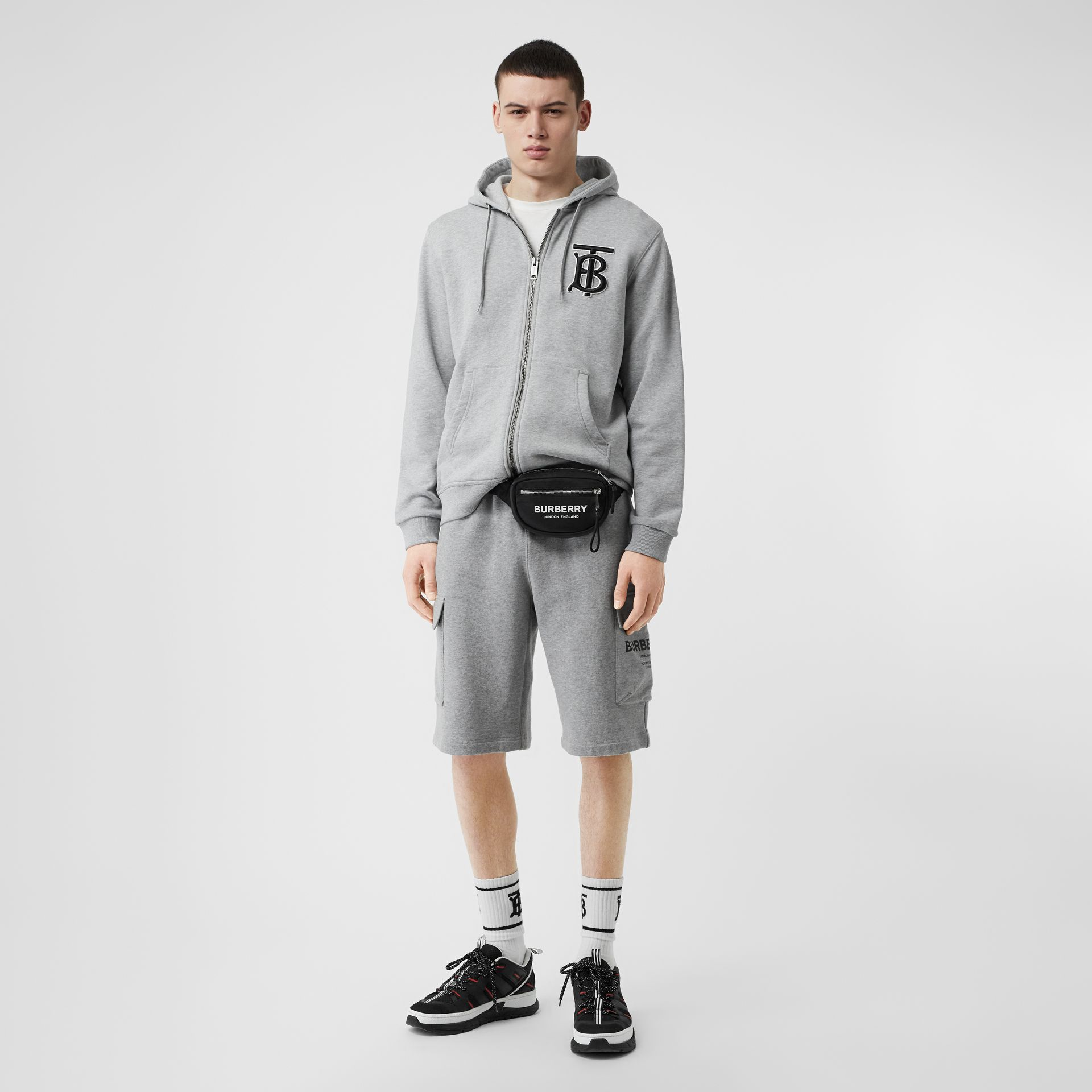 Monogram Motif Cotton Hooded Top in Pale Grey Melange - Men | Burberry - gallery image 0