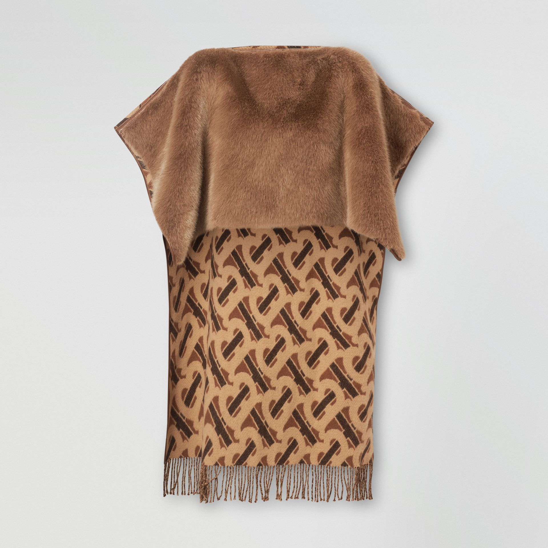 Faux Fur Detail Monogram Merino Wool Blend Cape in Dark Chestnut Brown - Women | Burberry United States - gallery image 3