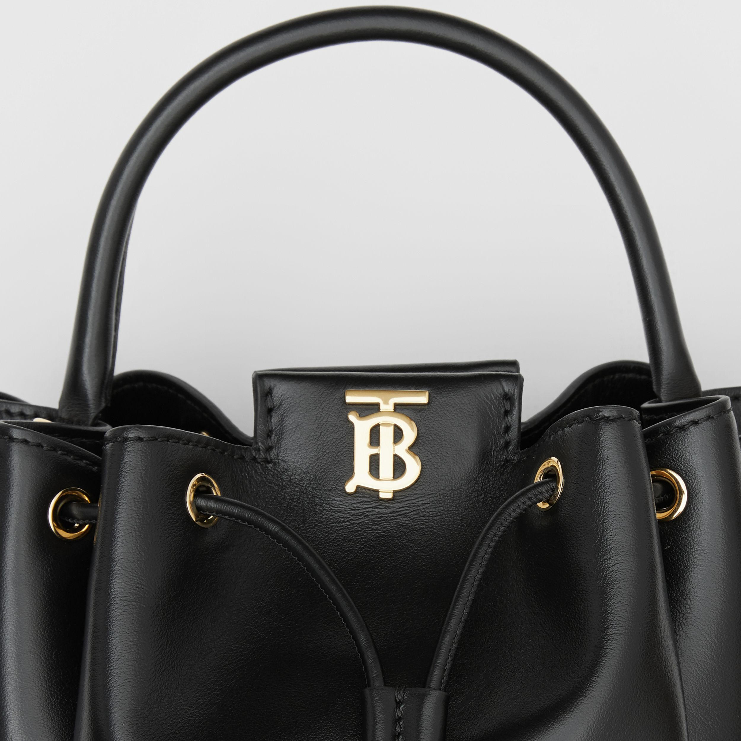 Monogram Motif Leather Bucket Bag in Black - Women | Burberry - 2