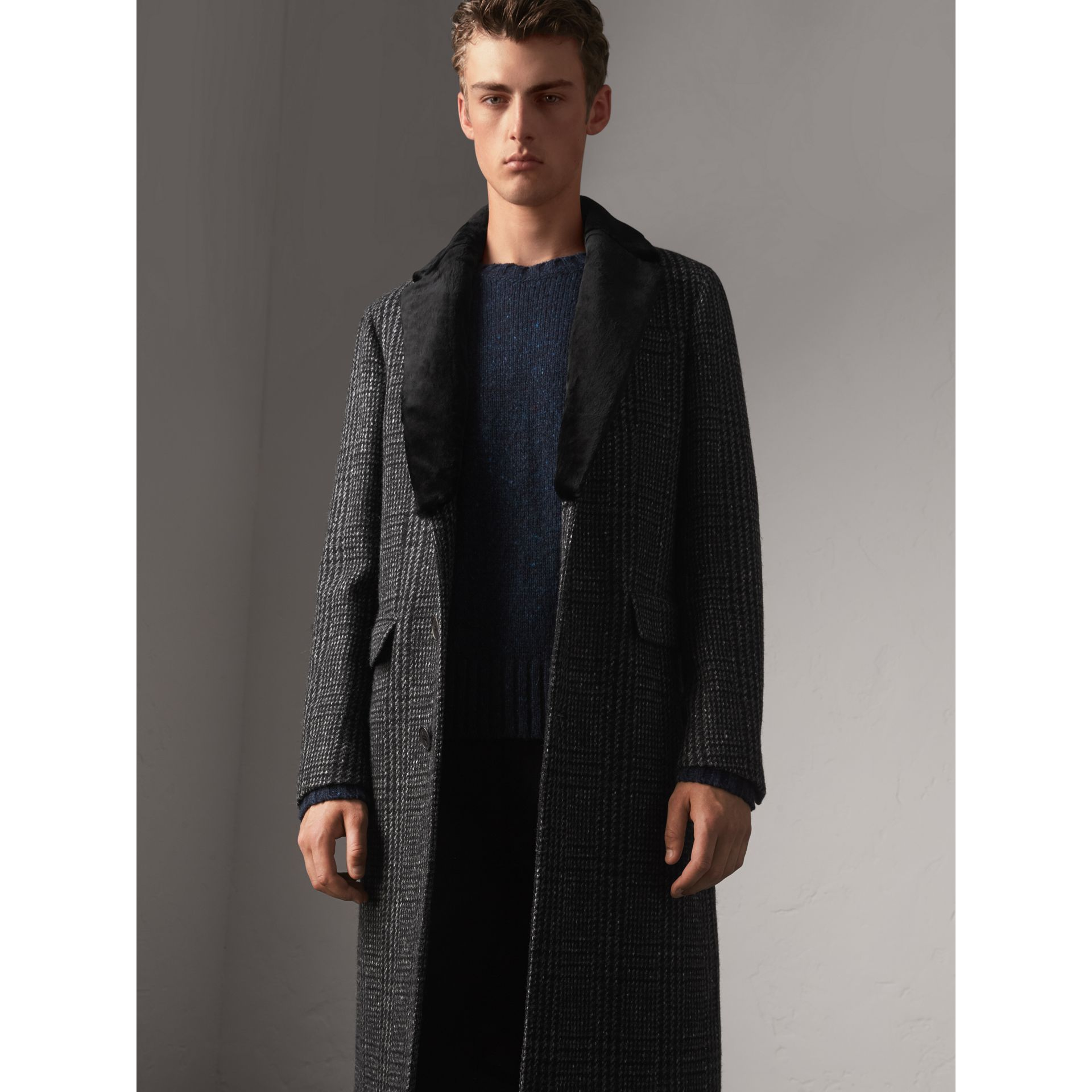 Detachable Mink Collar Check Wool Tailored Coat in Charcoal - Men | Burberry United Kingdom - gallery image 1