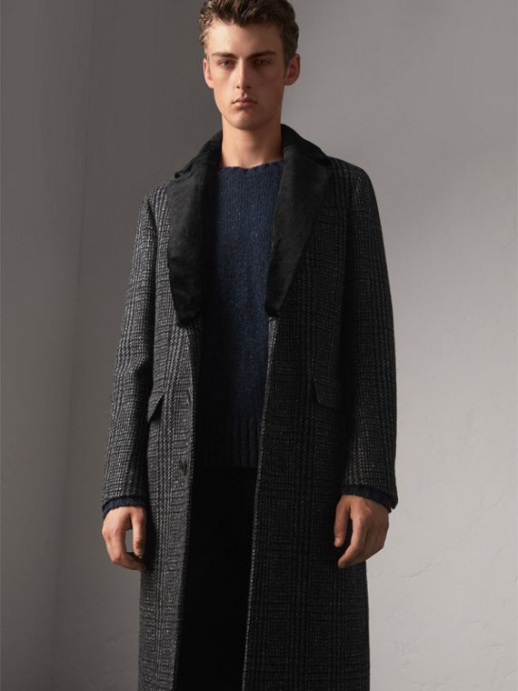 Detachable Mink Collar Check Wool Tailored Coat in Charcoal