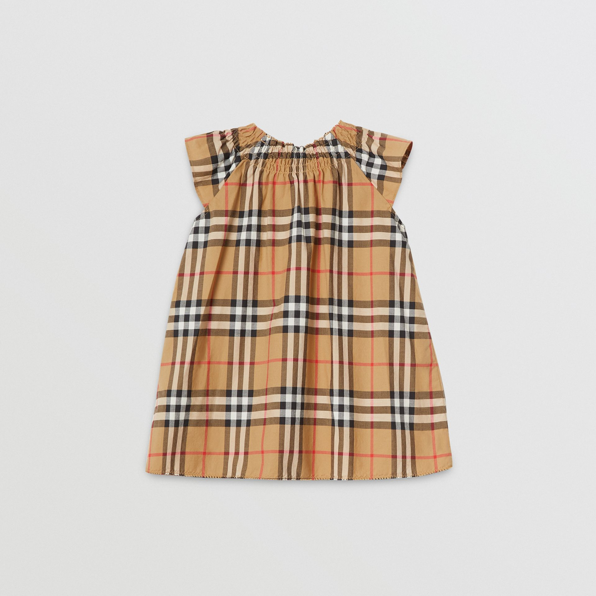 Robe en coton à motif Vintage check et smocks (Jaune Antique) - Enfant | Burberry - photo de la galerie 3