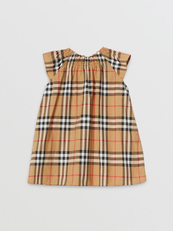 Smocked Vintage Check Cotton Dress in Antique Yellow - Children | Burberry - cell image 3