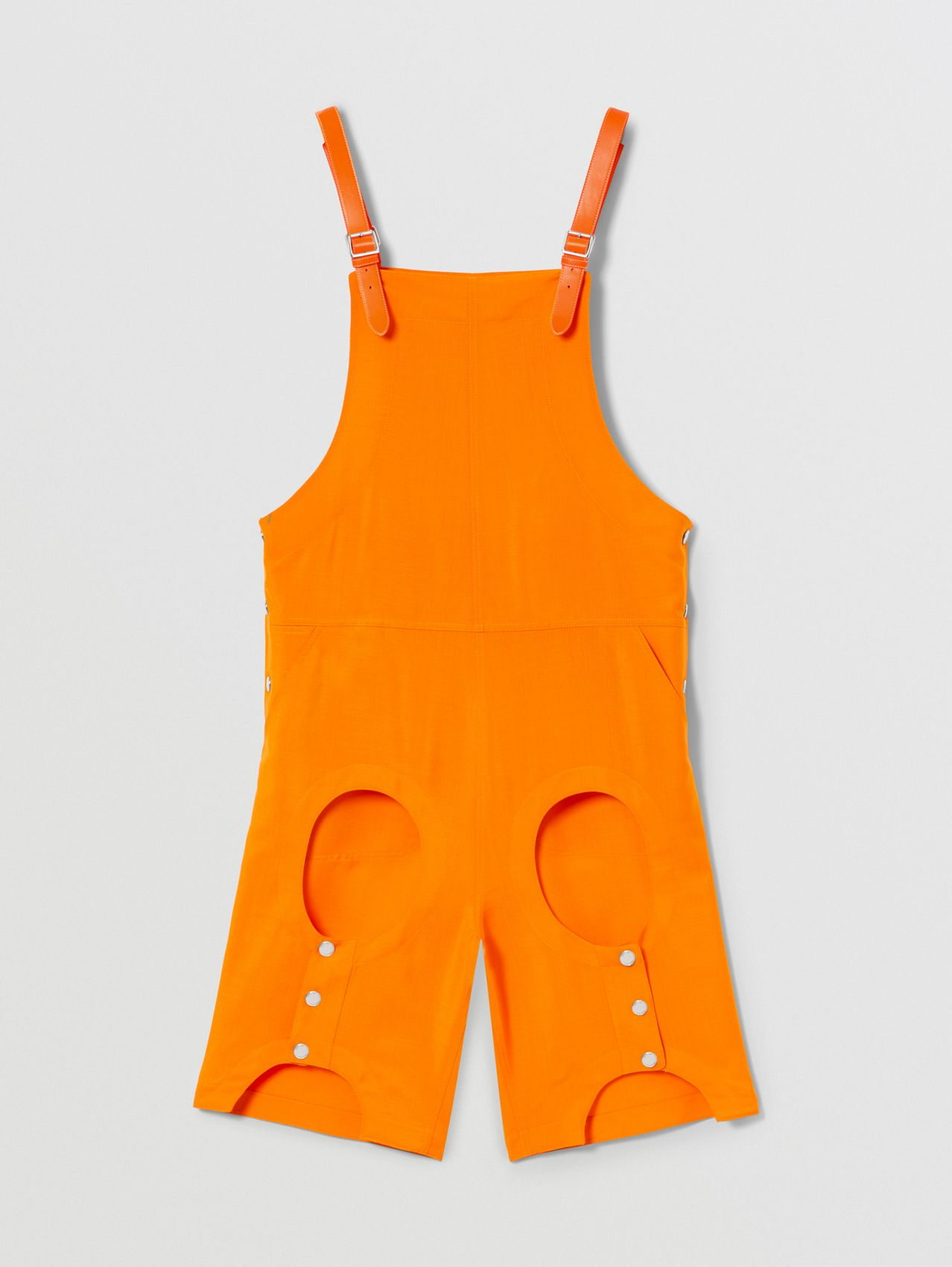 Cut-out Detail Mohair Wool Bib-front Shorts in Deep Orange
