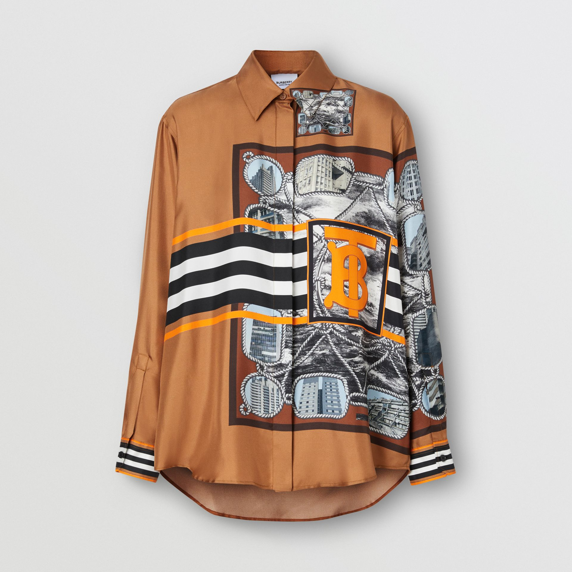 Camisa oversize de sarja de seda com estampa de aparelho náutico (Marrom Castanho Escuro) - Mulheres   Burberry - galeria de imagens 3