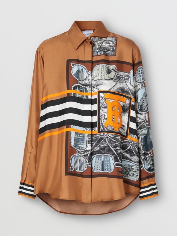 Camisa oversize de sarja de seda com estampa de aparelho náutico (Marrom Castanho Escuro) - Mulheres   Burberry - cell image 3