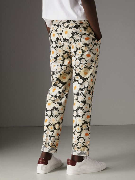 Daisy Print Cotton Tailored Trousers in Black - Men | Burberry - cell image 2