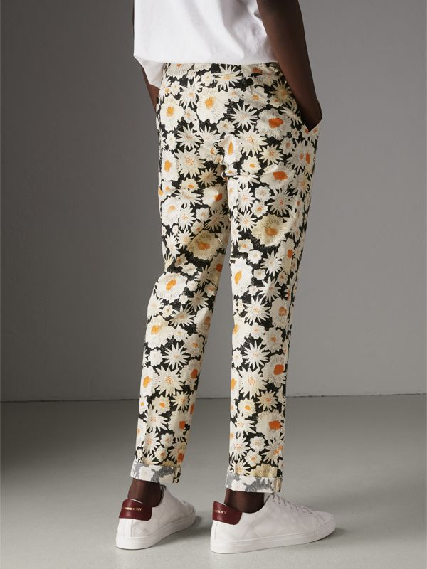 Daisy Print Cotton Tailored Trousers in Black - Men | Burberry Australia - cell image 2