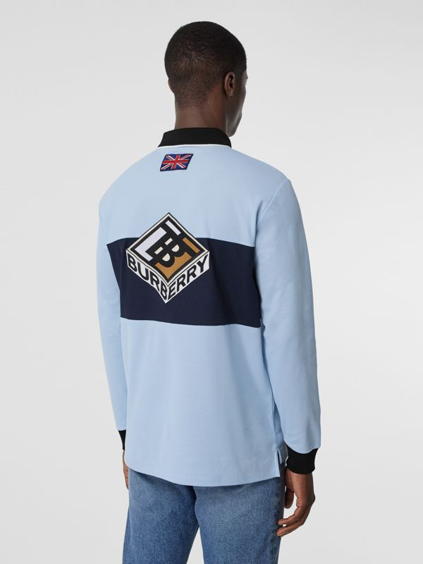 Long-sleeve Logo Graphic Cotton Piqué Polo Shirt in Pale Blue - Men | Burberry - cell image 2